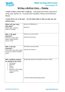 Worksheets for kids - writing-a-mythical-story-planning