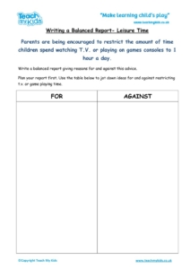 Worksheets for kids - balanced_report-leisure_time