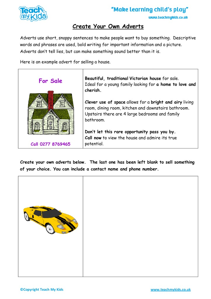 Create your own adverts tmk education for Design your own home for kids