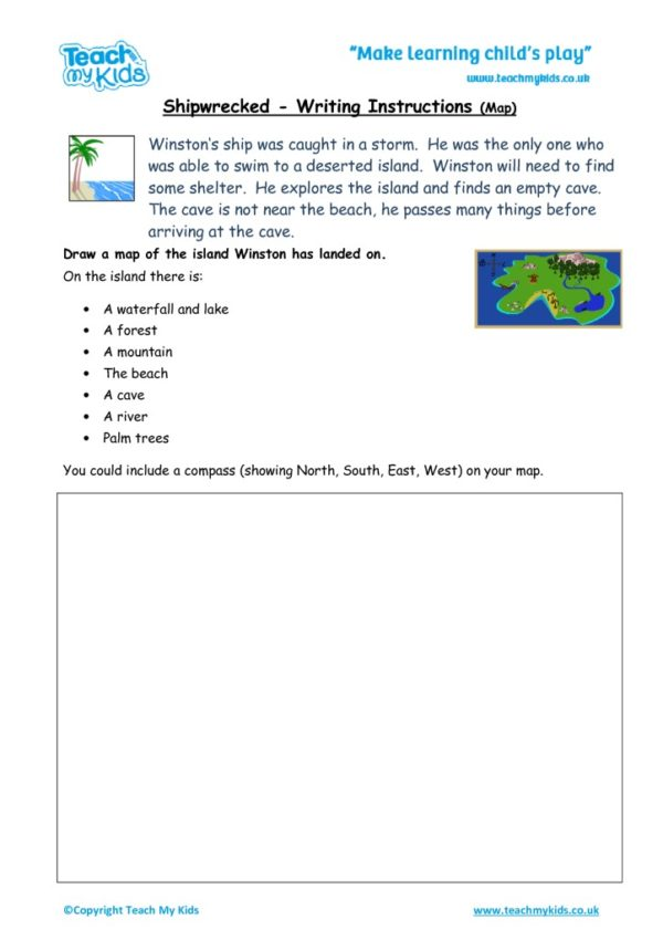 Worksheets for kids - instructional writing-shipwrecked