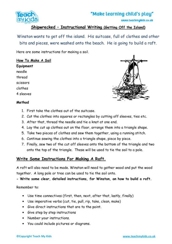 Worksheets for kids - instructional writing,off the island-shipwrecked
