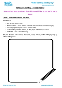 Worksheets for kids - persuasive-writing-cereal-poster