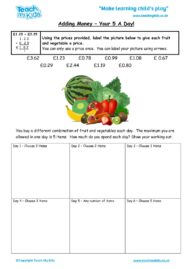 Worksheets for kids - adding_money_-_your_5_a_day