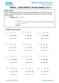 Worksheets for kids - addition-column-carrying-numbers-htu-2