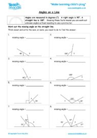 Worksheets for kids - angles-on-a-line