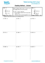 Worksheets for kids - chunking-method-division
