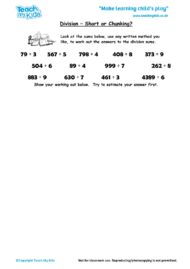 Worksheets for kids - division-short-or-chunking