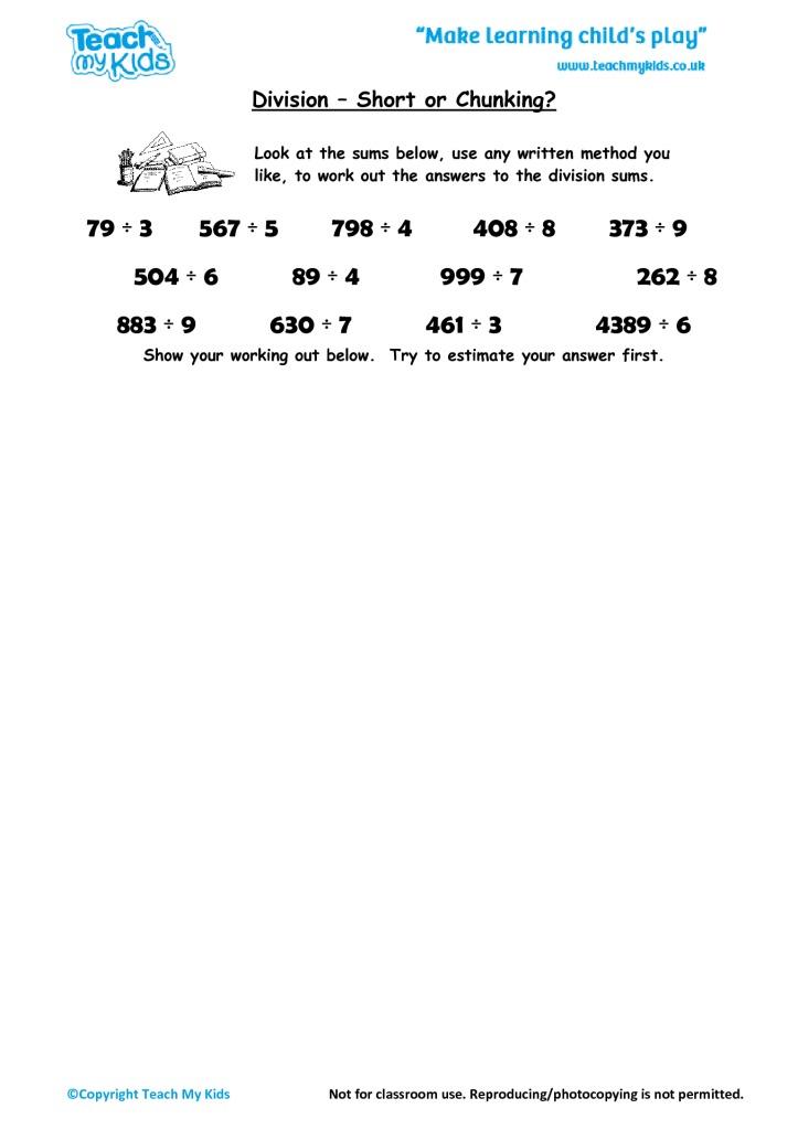 Division - Short or Chunking? - TMK Education