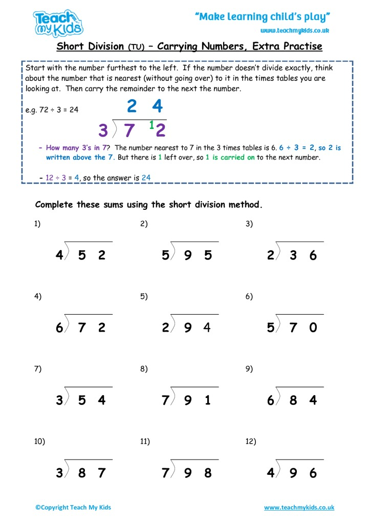 Short Division Tu Carrying Numbers Extra Practise Tmk Education. Worksheets For Kids Shortdivisiontucarryingnoextra. Worksheet. Division Worksheet For Beginners At Clickcart.co