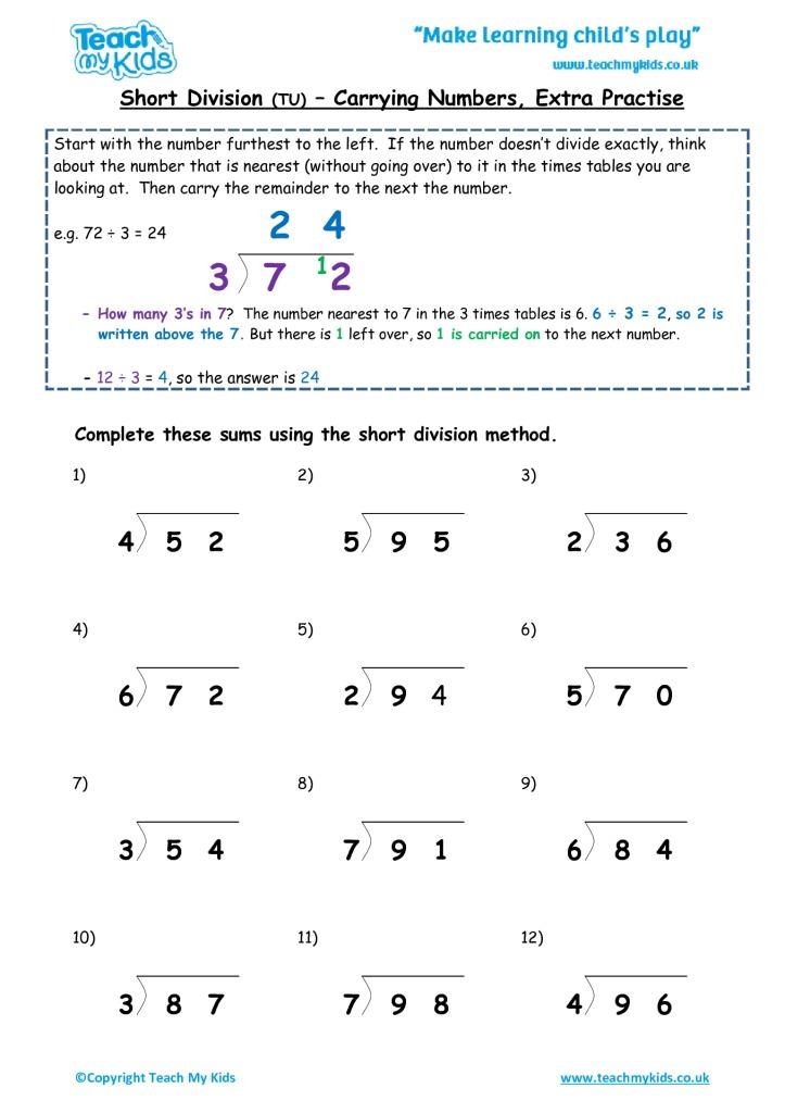 Short division worksheets year 3