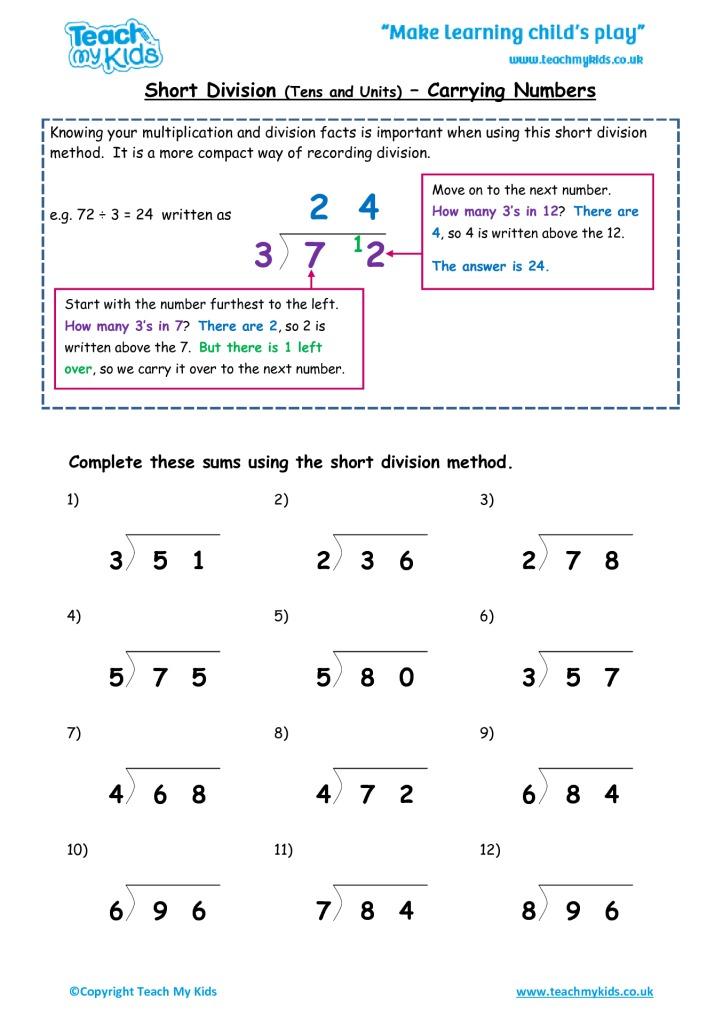 Short Division Tu Carrying Numbers Tmk Education. Short Division Tu Carrying Numbers. Worksheet. Long And Short Division Worksheets At Clickcart.co