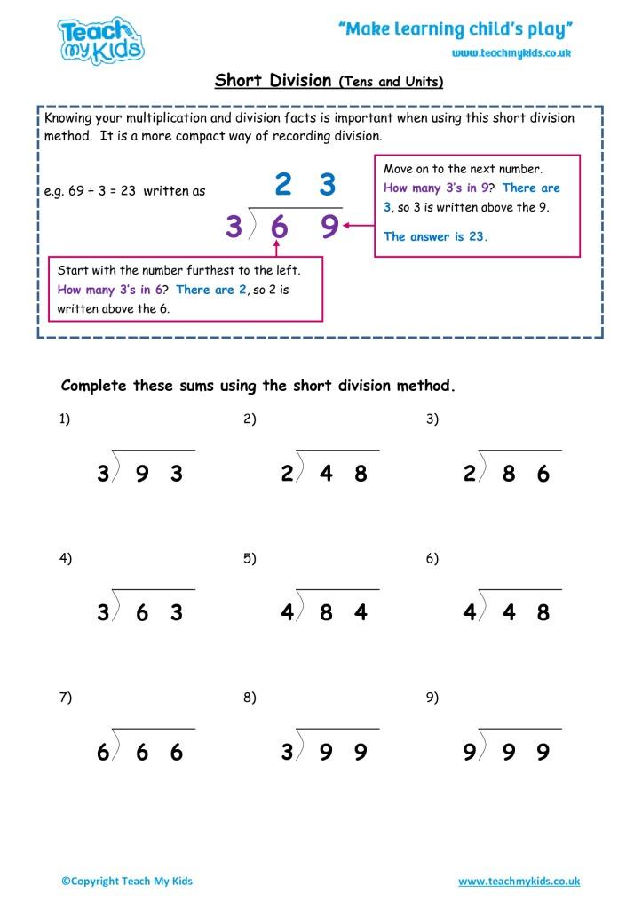 Division worksheets ks2 free