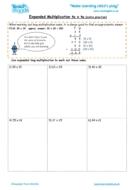 Worksheets for kids - expanded long multiplication – tu x tu extra