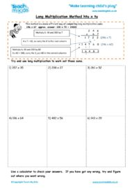 Worksheets for kids - long multiplication method – htu x tu