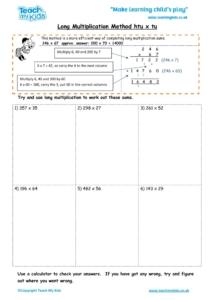 Worksheets for kids - long multiplication method – htu x tu