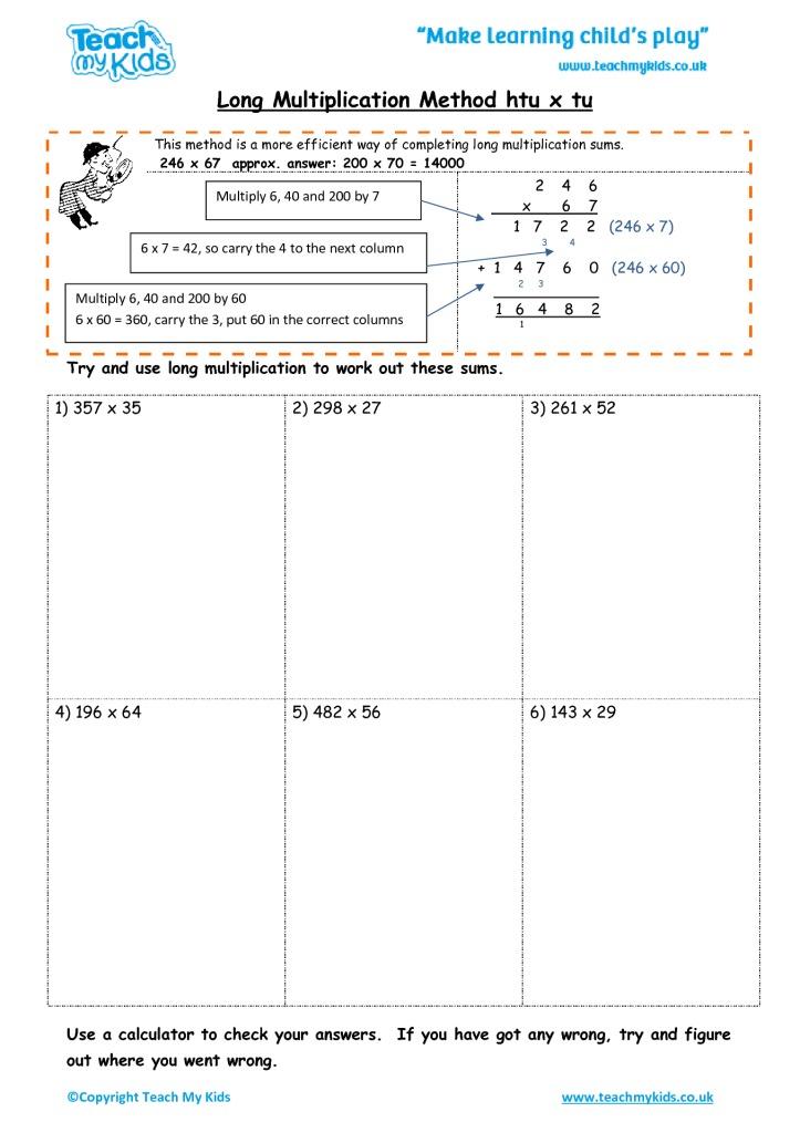 long multiplication method htu x tu tmk education. Black Bedroom Furniture Sets. Home Design Ideas