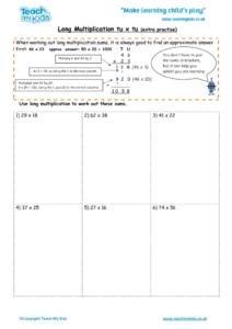 Worksheets for kids - long multiplication – tu x tu extra