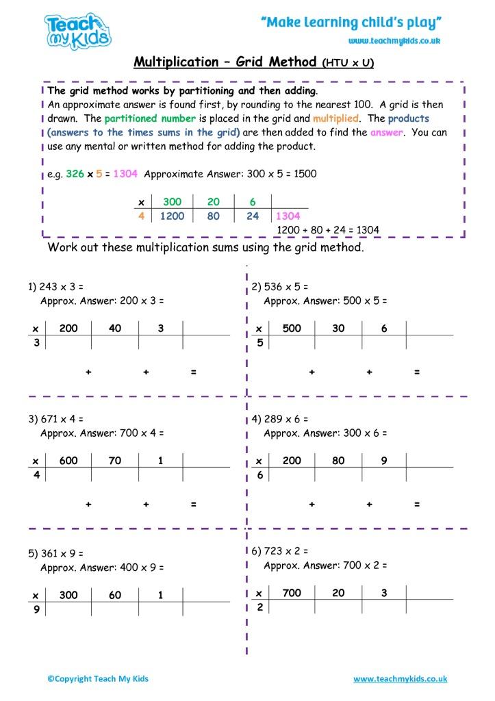 multiplication grid method htu x u tmk education. Black Bedroom Furniture Sets. Home Design Ideas