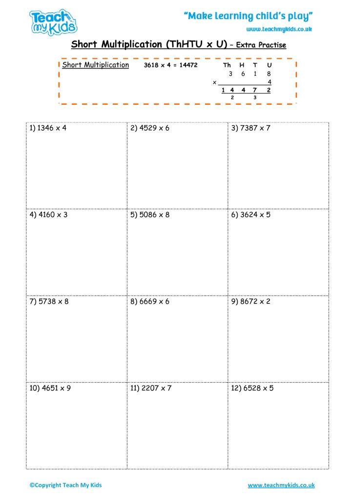 short multiplication thhtu x u extra practise tmk education. Black Bedroom Furniture Sets. Home Design Ideas