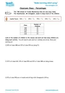 Worksheets for kids - classroom-chaos-percentages