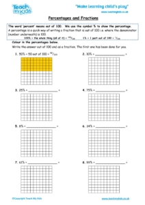 Worksheets for kids - percentages-and-fractions