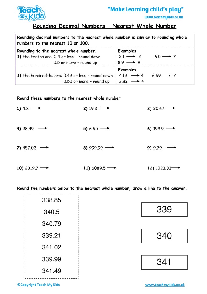 Rounding decimal numbers nearest whole number tmk education worksheets for kids rounding decimal numbers nearest whole number ibookread ePUb