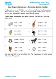 Worksheets for kids - zookeepers-conundrum-comparing-decimal-numbers
