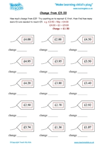 Worksheets for kids - change-from-£5