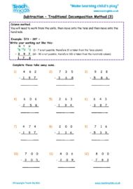 Worksheets for kids - subtraction-column-decompostion-htu-3