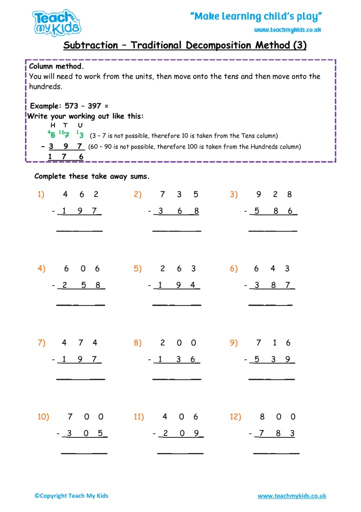 Subtraction - Traditional Decomposition Method 3 - TMK Education