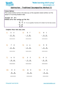 Worksheets for kids - subtraction-column-decompostion-tu-1