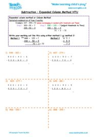 Worksheets for kids - subtraction -column expanded htu 4