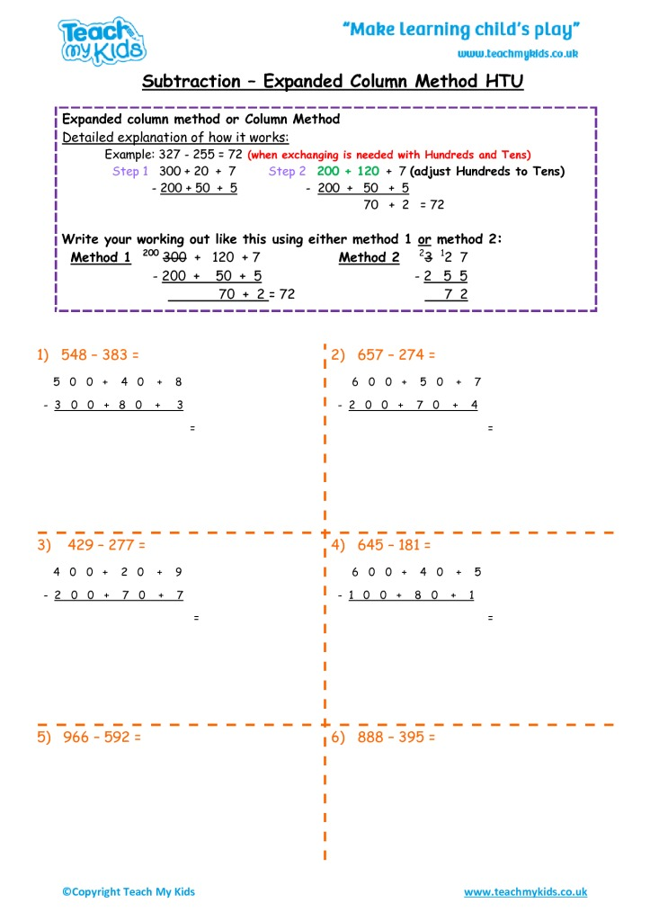 subtraction  expanded column method htu  tmk education worksheets for kids  subtraction column expanded htu