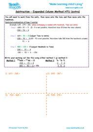 Worksheets for kids - subtraction -column expanded htu 5