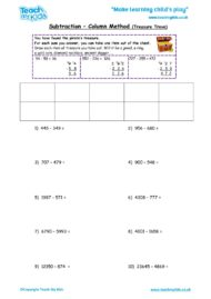 Worksheets for kids - subtraction_-column_method,treasure_trove