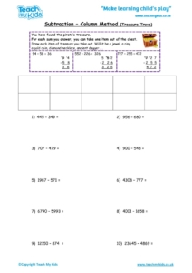Worksheets for kids - subtraction_-column_method,treasure_trove