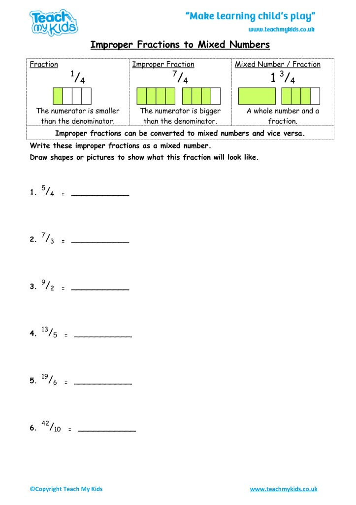 Improper fractions to mixed numbers tmk education worksheets for kids improper fractions and mixed numbers ibookread PDF