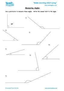 Worksheets for kids - measuring-angles