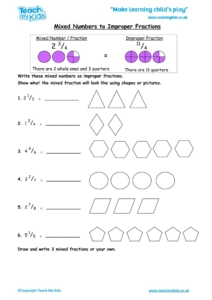 Worksheets for kids - mixed-numbers-to-improper-fractions