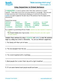 Worksheets for kids - Using-conjunctions-to-extend-sentences