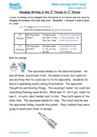Worksheets for kids - changing-writing-from-3rd-person-to-1st-person