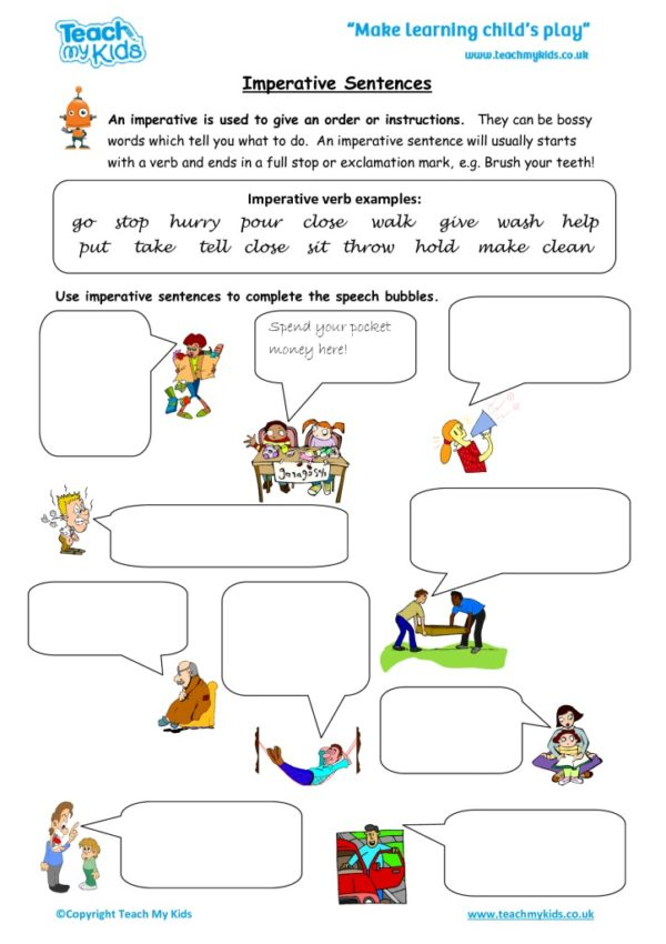 Worksheets for kids - imperative-sentences