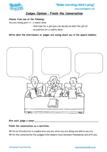 Worksheets for kids - judges-opinion-finish-the-conversation