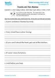 Worksheets for kids - proverbs-and-their-meanings