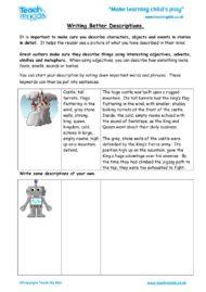 Worksheets for kids - writing-better-descriptions