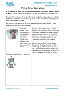 Worksheets for kids - writing-better-descriptions