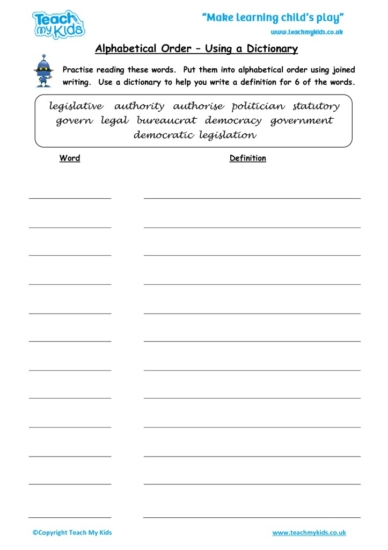 Worksheets for kids - alphabetical-order-using-a-dictionary