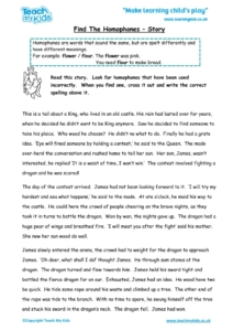 Worksheets for kids - find the homophones – story