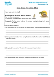 Worksheets for kids - semi-colons_for_linking_ideas