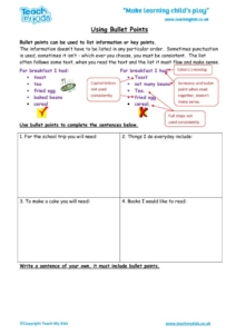 Worksheets for kids - using-bullet-points